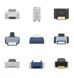 office printer icon set flat style vector image