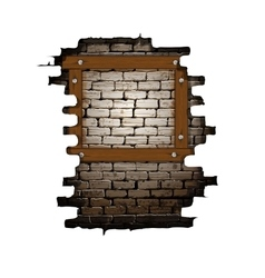 Old brick wall frame with wooden boards vector