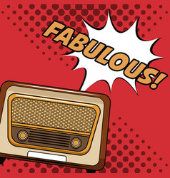 old radio pop art cartoon vector image