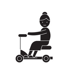 old woman on scooter black concept icon vector image