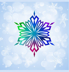 One big colorful snowflake on light blue vector