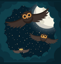 owls flies in the clouds under moon vector image