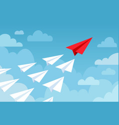paper plane flying planes white and red color vector image