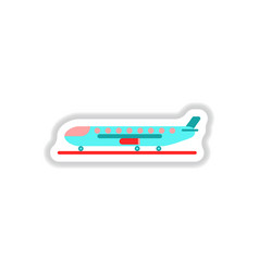 Paper sticker on white background airplane airport vector