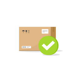 Parcel box with checkmark sign icon flat vector