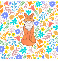 Pattern with orange fox and flowers vector