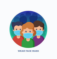 People wearing protective medical face masks vector