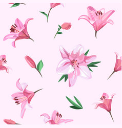 pink flowers - lily seamless floral pattern vector image