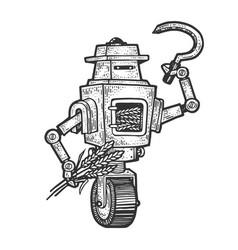 Robot grain grower sketch engraving vector
