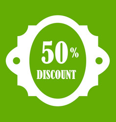 sale label 50 percent off discount icon green vector image