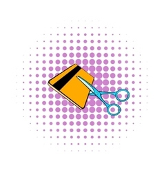 Scissors cut credit card icon comics style vector image