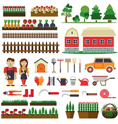 Set of elements for horticulture farm building vector