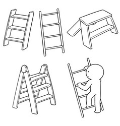 set of ladders vector image