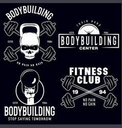 Set of monochrome fitness emblems labels badges vector