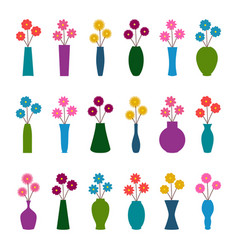 Set of vases with flowers vector