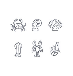Simple sea animals icon set seafood vector