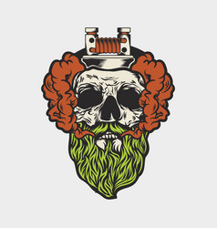 skull and vaporous smoke vector image