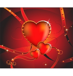 Sparkling hearts with ribbons vector