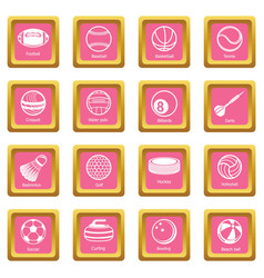 Sport balls equipment icons set pink square vector