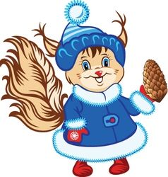 squirrel in the fur coat vector image