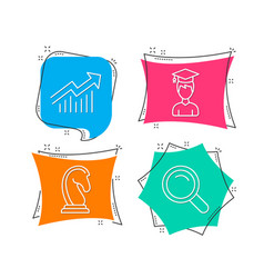 Student marketing strategy and demand curve icons vector