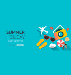 summer holiday traveling template with beach vector image