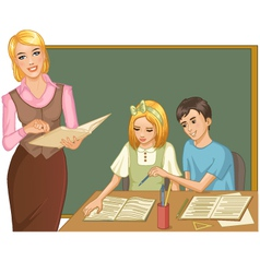 Teacher and children at blackboard vector