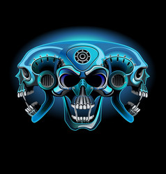 three metallic skull in one vector image