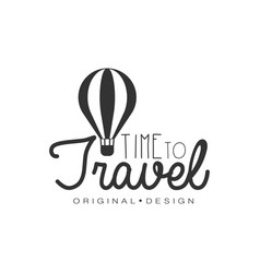 Travel logo design with air balloon vector