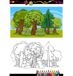Trees and forest cartoon for coloring book vector