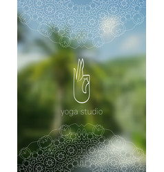 Tropical yoga studio realistic banner with mandala vector