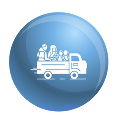 Truck homeless family icon simple style vector