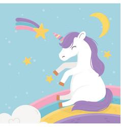 unicorn on rainbow moon shooting star fantasy vector image