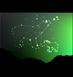 ursa minor and major on nigt sky with forest vector image