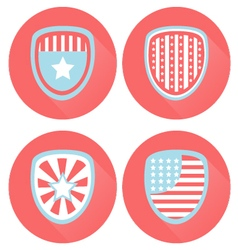 USA Flag Shield Icons Flat Style vector image