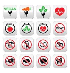 Vegan no meat vegetarian lactose free buttons s vector