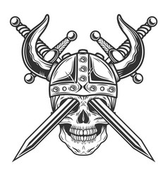 viking horned skull in helmet with crossed swords vector image