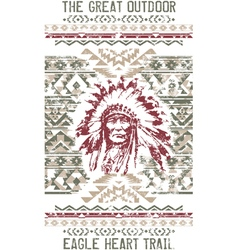 Vintage eagle heart chief trail vector image