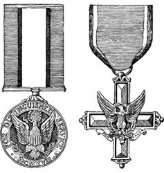 vintage military medals vector image vector image