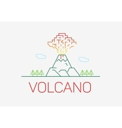 Volcano exploding thin line icon flat design logo vector image