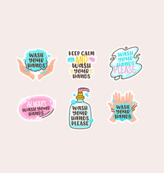 wash your hands cartoon stickers with doodle vector image