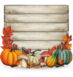 watercolor hand drawn fall composition with fall vector image