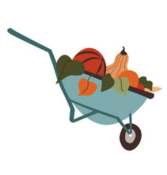 Wheelbarrow filled with ripe fruits autumn vector