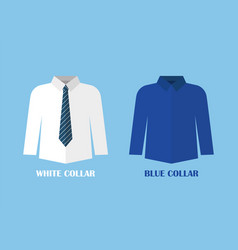 White and blue shirt vector