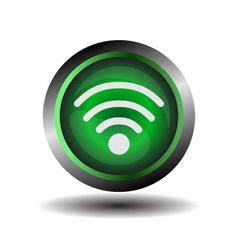 Wifi button symbol on green glossy vector image