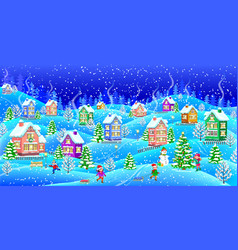 Winter landscape with snowcovered houses at night vector