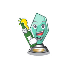 With beer acrylic trophy stored in cartoon drawer vector
