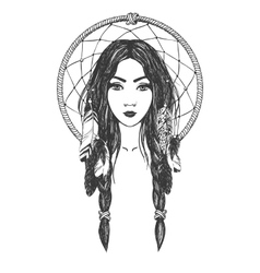 Woman with feathers and dreamcatcher vector