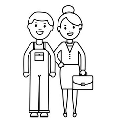 young businesswoman with constructor builder vector image