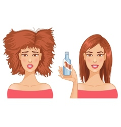 Young woman with hair-dress before and after care vector image